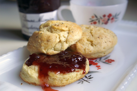 sunday biscuits with strawberry jam.