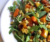 indian-spiced butternut squash, pine nut + arugula salad