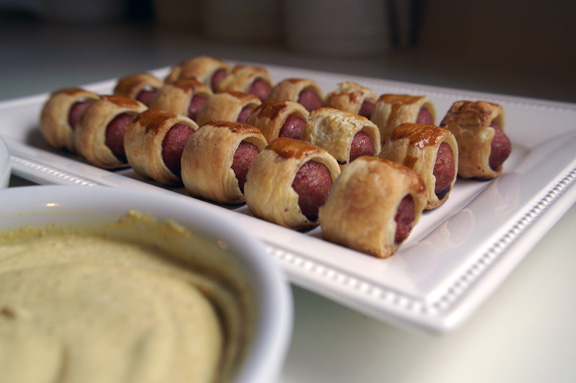 pigs in a blanket + mustard dipping sauce.
