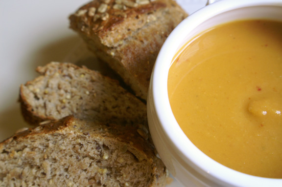 smoky sweet potato + apple soup.