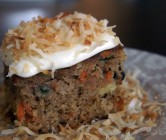 island carrot cake + toasted coconut cream cheese frosting.
