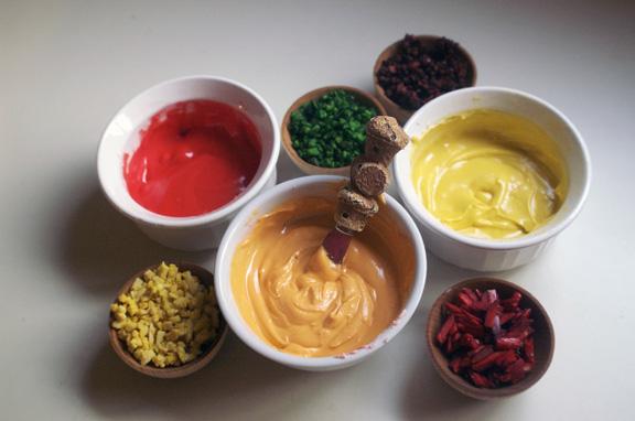 hot dog condiments.