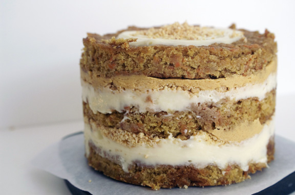 carrot layer cake + pumpkin ganache.