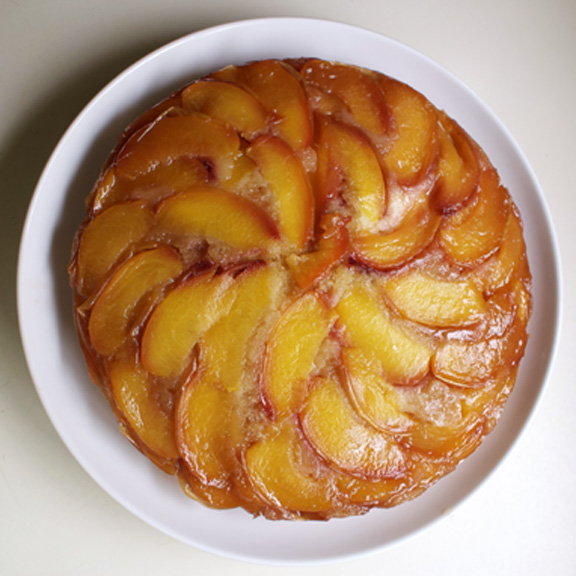 nectarine cake, finished. it stayed whole for maybe 5 seconds.