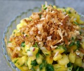 mango pineapple salsa + toasted coconut.