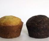 black + white zucchini muffins.