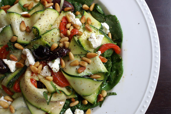 greek-inspired zucchini ribbon salad.