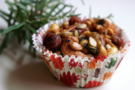 sweet + spicy rosemary nuts.