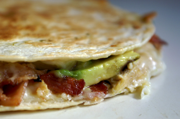 turkey, bacon + avocado quesadillas.