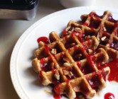 cracked wheat + pecan waffles | cranberry maple syrup | spiced butter.