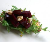roasted beet, arugula, + goat cheese crostini.