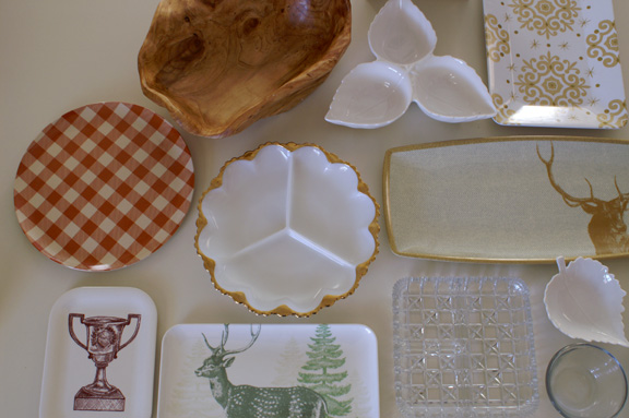 plates await: my winter woodland deer plaid theme.