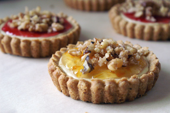 sweet goat cheese + candied walnut tarts.