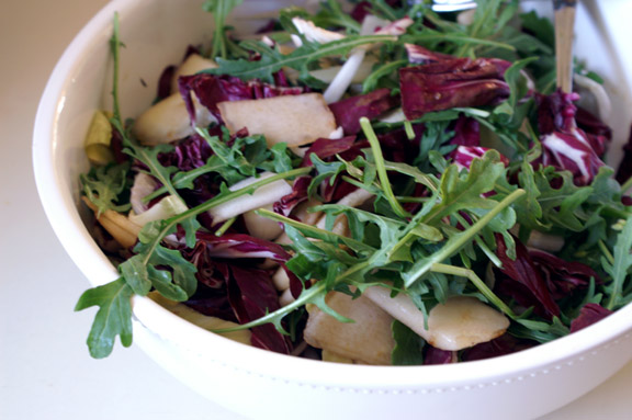 peeled pear + winter greens salad with dill vinaigrette.