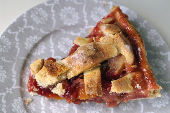 spiced peach + red plum pie with a vodka crust.