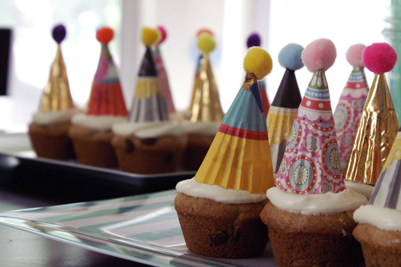 party hats and cream cheese frosting.