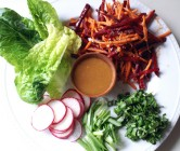 root vegetable lettuce wraps + citrus miso dressing.
