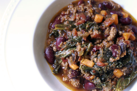 lamb, kale, + sweet potato chili.