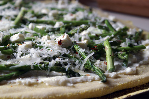 three-cheese asparagus pizza.