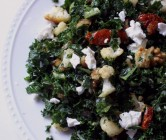 winter kale salad with roasted cauliflower, tomatoes, walnuts, and goat cheese.