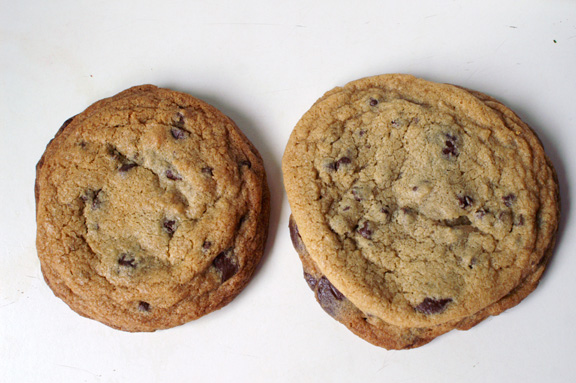 fig. 2: the bouchon cookbook cookies, baked at 375˚F (left) and 325˚F (right).