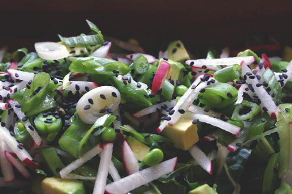 spring vegetable salad + miso dressing.