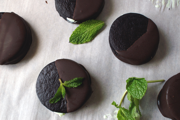 double dark chocolate-dipped mint ice cream sandwiches.
