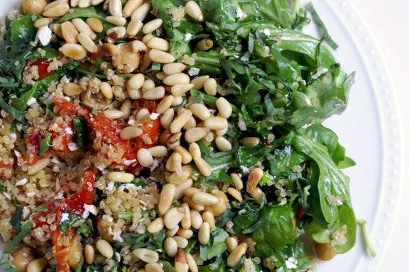 quinoa + wilted arugula greek salad.