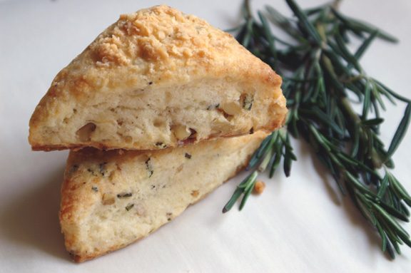 tomme, rosemary + walnut mini scones.