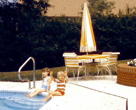 a glimpse of my childhood summers. that's me on the left with my cousin.