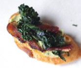 crispy kale + bacon toasts with lemony white bean puree.