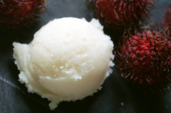 feast magazine, october 2014: rambutan + poached pear sorbet.