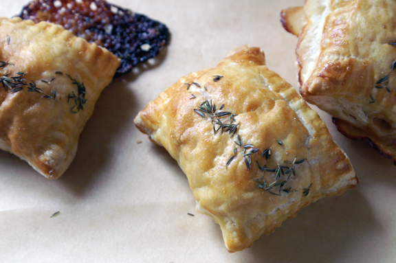 dirt lover, fig and thyme pastry pockets.