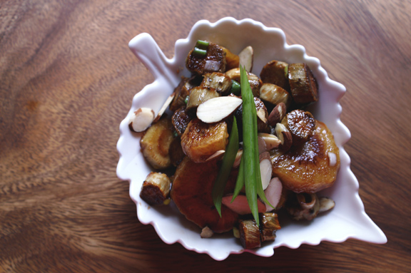 feast magazine, november 2014: roasted parsnip and burdock root with pomegranate soy glaze.
