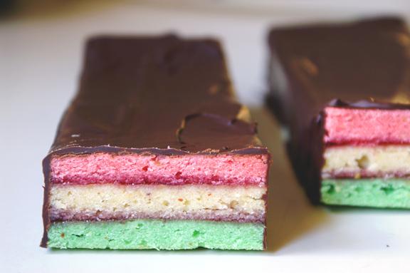 italian tricolor [rainbow] cookies.