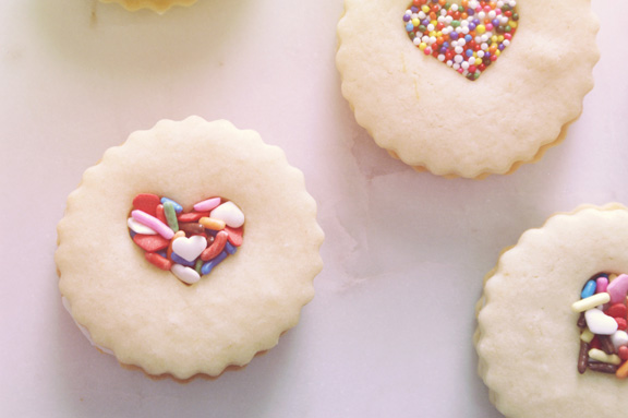 valentine [or anytime] vanilla sandwich cookies.