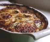 celeriac-turnip gratin with herbed maple cream.