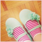 My kid has her shoe / soxck combo game on…