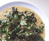 braised collard greens with thai flavors.