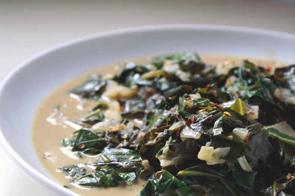 braised collard greens with thai flavors.