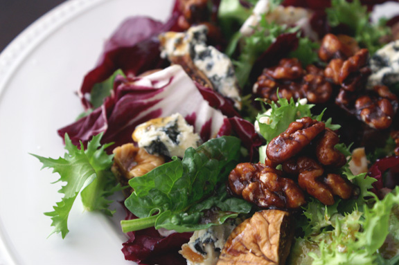 Feast Magazine, April 2015: bitter greens salad with grape molasses-rosemary vinaigrette and grape molasses-candied walnuts.