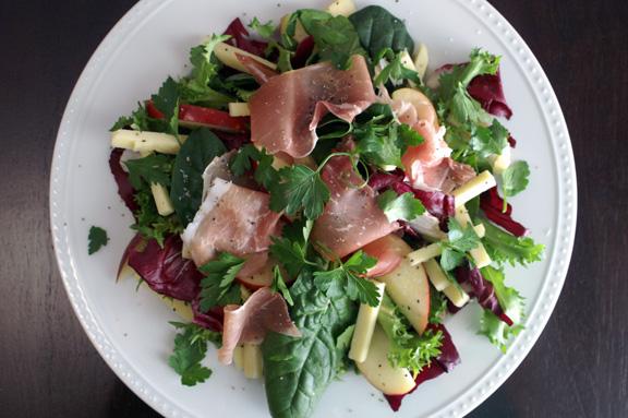 farmhouse salad with wheat beer vinaigrette.