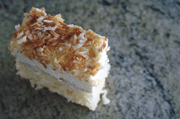 baked, occasionally: coconut sheet cake.