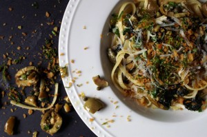 linguine with green olive sauce and zesty breadcrumbs.