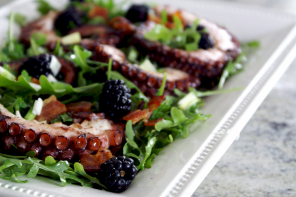 charred octopus salad. | a periodic table