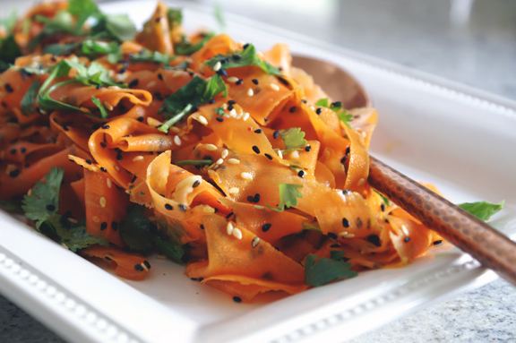 vinegary carrot ribbon salad with sesame and cilantro. | a periodic table
