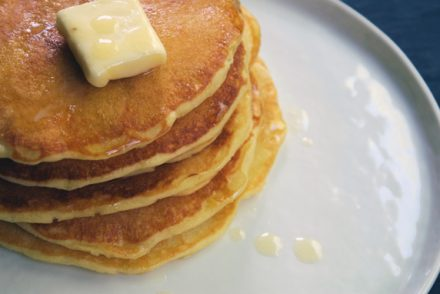 baked occasionally: orange pancakes with honey butter.