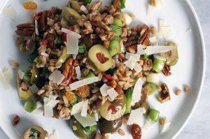 olive farro salad.   a periodic table