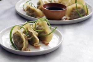 pork + vegetable potstickers with soy dipping sauce. | a periodic table