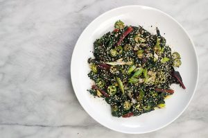 hot oil-flashed chard with ginger, scallions and chili. | a periodic table